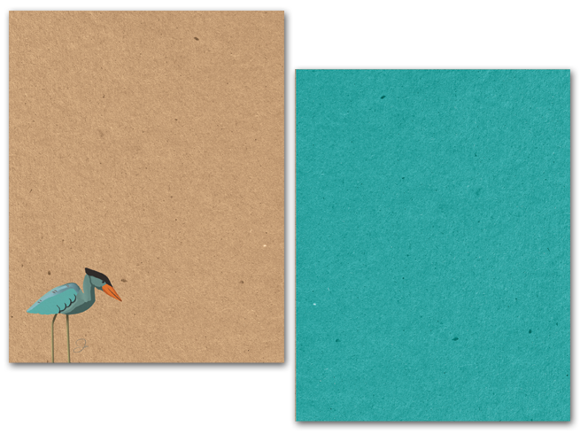 Blue Heron, Brown Paper, Natural, Note Card, Design