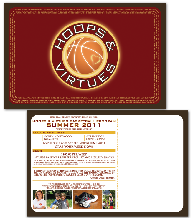 Hoops & Virtues, Basketball, Carrie Herrara, Kids, Children, Summer Program, Postcard Design