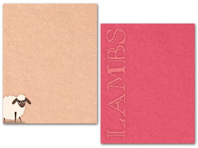 Agoura Bible Fellowship, LAMBS, bible study, note card, lamb, brown paper, natural, pink, strawberry, design