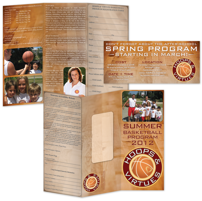 Hoops & Virtues – Tri-Fold Brochure + Insert Design