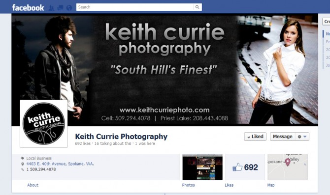 Facebook Timeline Cover Design – Keith Currie Photography, Spokane, WA