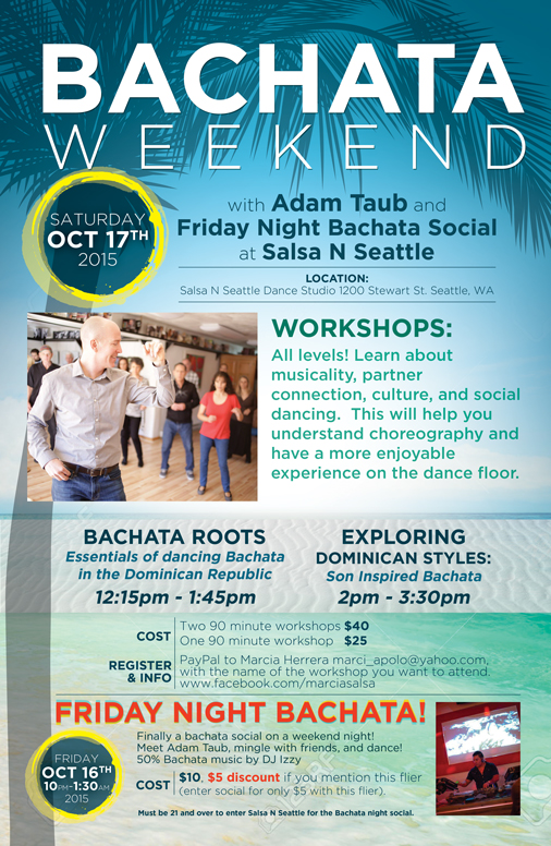 Bachata Weekend in Seattle. Poster Design by Jen Brookman Graphic Design.
