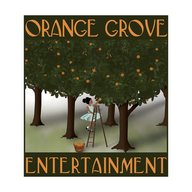 Orange Grove Entertainment, Trees, Girl, Child, Little, Orchard, Orange, Green, Logo Design, California