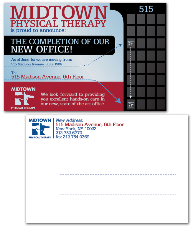 Midtown Physical Therapy, New York, Postcard Design, Madison Avenue, Modern
