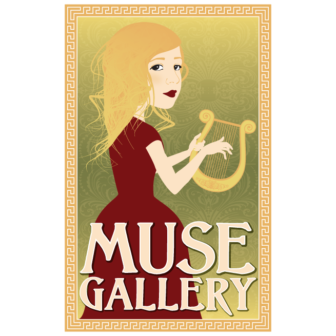 Muse, music, musical, gold, red, girl, gallery, studio, art nouveau, logo