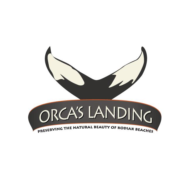 Orca's landing logo design, killer whale