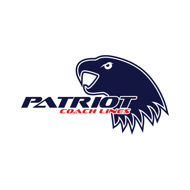 Patriot Coach Lines, Logo Design, Eagle, patriotic, red white blue