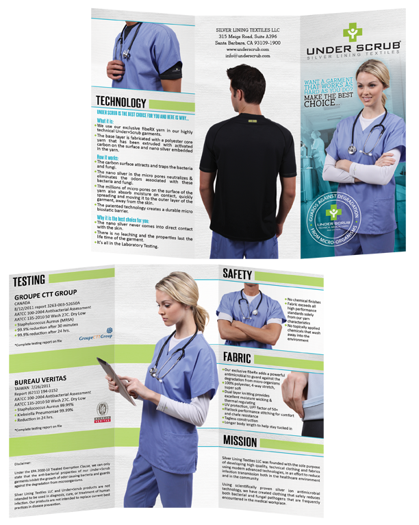 Under Scrub, Brochure Design, Medical, Fabric