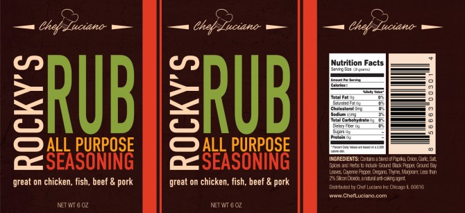 Chef Luciano – Rocky's Rub Spice Label Design- Chicago
