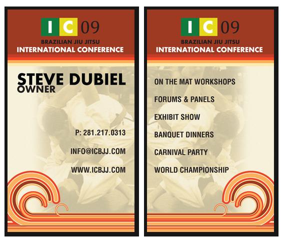 BJJ, ICBJJ, Brazilian Jiu Jitsu, business card, design, warm colors