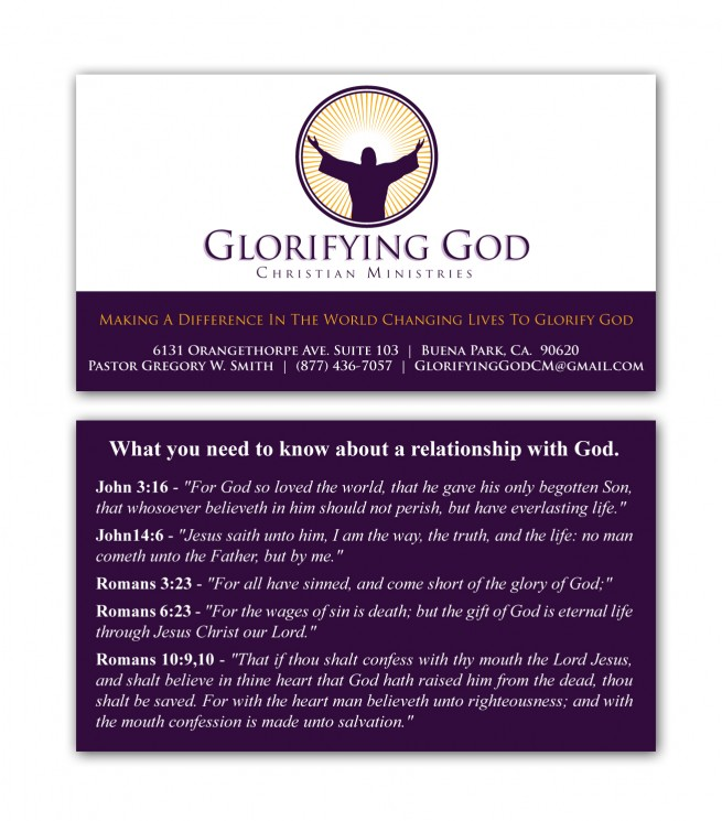 Glorifying God Christian Ministries – Business Card – Nashville ...