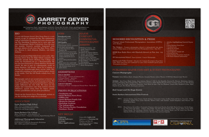Garrett Geyer Photography, New York – Career Bio Design