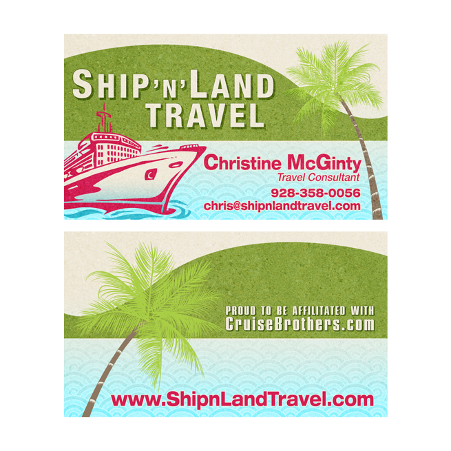 Christine McGinty, Ship N Land Travel, Arizona – Business Cards