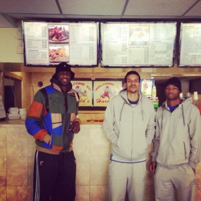 Los Angeles Clippers Players Lamar Odom and Matt Barnes at Harold's Chicken Shack