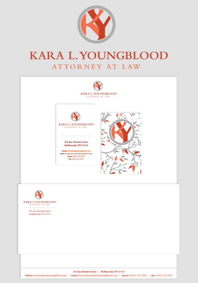 Branding Package: Kara L. Youngblood Attorney At Law- Jen Brookman Graphic Design & Printing